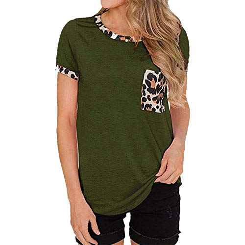 PRJN Camiseta de Verano de Manga Corta para Mujer Camiseta de Cuello Redondo Camiseta con Estampado de Leopardo para Mujer Camiseta de Verano de Manga Corta con Cuello Redondo Camiseta básica