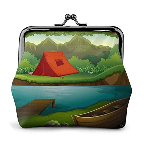 Deep Forest with Lake and Mountains Coin Purse Wallet Buckle Kiss-Lock Small Leather Change Pouch Gift for Women