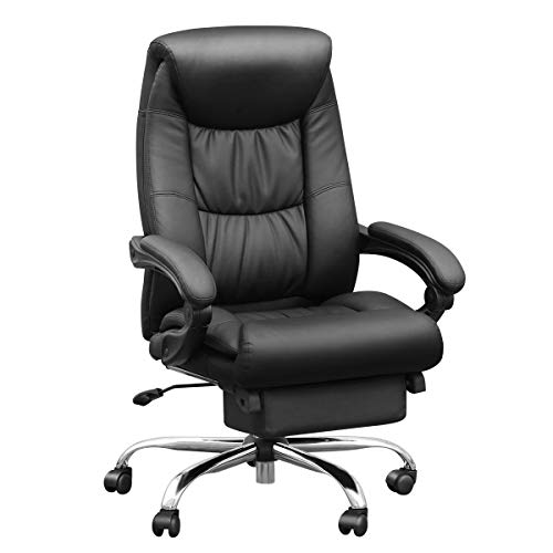 Duramont Reclining Leather Office Chair with Lumbar Support - High Back Executive Chair - Thick Seat...