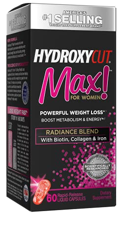 Weight Loss Pills for Women | Hydroxycut Max | Weight Loss Supplement Pills with Biotin | Hair Nails and Skin Vitamins | Metabolism Booster for Weight Loss | Iron Supplement, 60 Count (Pack of 1)