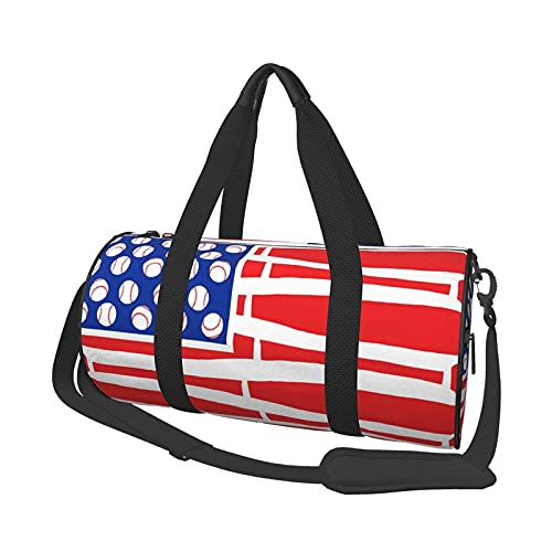 Bolsa de deporte de viaje, diseño de bandera de Estados Unidos, raquetas, pelotas, redonda, ligera, plegable, para hombre y mujer