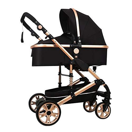 KHUY Baby Stroller, 3 in 1 Adjustable High View Baby Stroller Pram Travel System, Newborn Pram Buggy Infant Carriage Pushchair, Stroller Car Seat Combo with Stroller Fan (black)