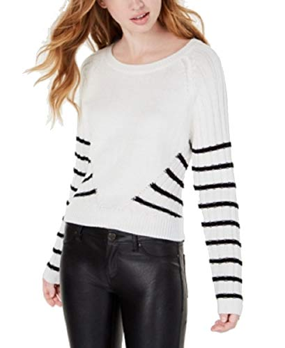 Planet Gold Womens Juniors Knit Pullover Crewneck Sweater B/W M