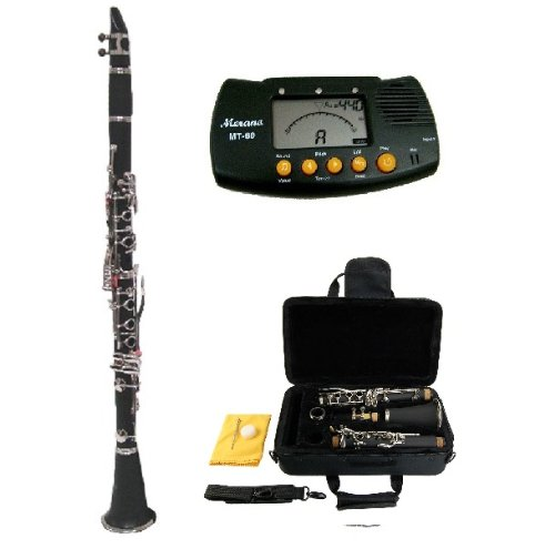 Merano B Flat Black / Silver Clarinet with...