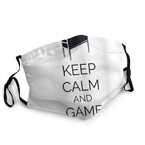 Bandana riutilizzabile a mezza faccia,Keep Calm Pinball Machine Arcade Room Concept Keep Calm and Game On Fun Entertainment,Coprivaso sportivo regolabile