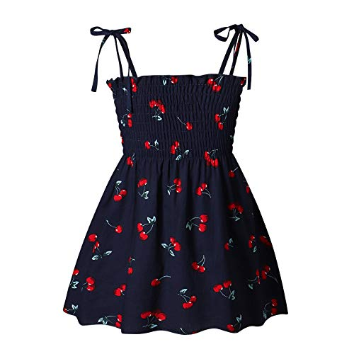 Kleinkind Kinder Baby Mädchen Kleid,Sonnenblume Slip Blumen Strandkleid Kleidung,Fashion Mädchen Kleid Sunny Regenbogen Smok Halfter Kinder Hosenträger Kurz Strandkleid(04-Schwarz:120)