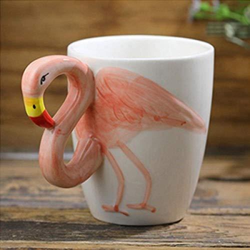 LDJING Taza De Café Creativa Tridimensional Con Marca De Animal, Personalidad De Cerámica, Linda Taza De Café Para Novio Y Niña, Regalo Del Día, 400 Ml, Flamenco Rosado