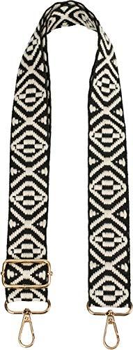 styleBREAKER Tracolla a tracolla delle tasche con motivo azteco, tracolla della borsa intercambiabile con moschettone, regolabile, unisex 02013015, colore:Nero-Bianco