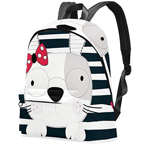 Hasenmädchen mit Brille Bag Teens Student Bookbag Leichte Umhängetaschen Reiserucksack Tägliche Rucksäcke
