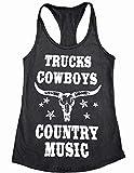 FAYALEQ Camion Cowboys Country Music Canotta Donne Divertente Mucca Grafica Tees Estate Racerback Serbatoi Gilet T Shirt - grigio - L