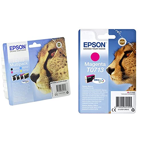 Epson C13T07154022 Cartucho de Tinta, Multi-Pack + C13T07134011 Cartucho de Tinta, Paquete Estándar, Magenta Válido para Los Modelos Stylus, Stylus Office BX610FW, BX600FW y Otros