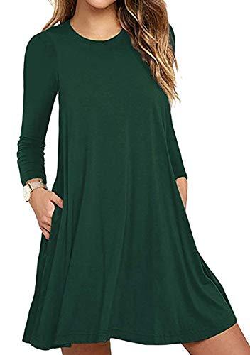OMZIN Damen Winterkleid Langes Shirt Swing Kleider Einfarbig Tunika Strandmode Langarm Kleid Dunkelgrün XL