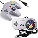 [USB Version] 2 Pack USB Classic Controller, iNNEXT USB N64 & SNES Controller Joystick for Windows PC MAC Linux Raspberry Pi 3 Sega Genesis Higan (Gray)