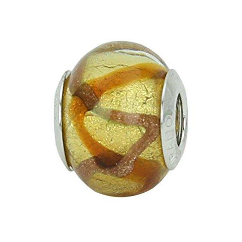 GlassOfVenice - Abalorio de cristal de Murano (plata de ley y topacio), diseño de ondas