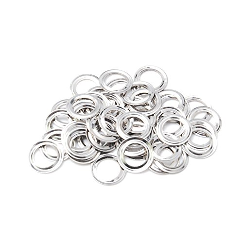 200 Pack Silver Shim Rings Washer for Hole 5mm Metal Eyelets Leathercraft DIY Scrapbooking Shoes Boots Belt Cap Bag Tags Clothes Sewing Fashion Accessories #FET022-5S
