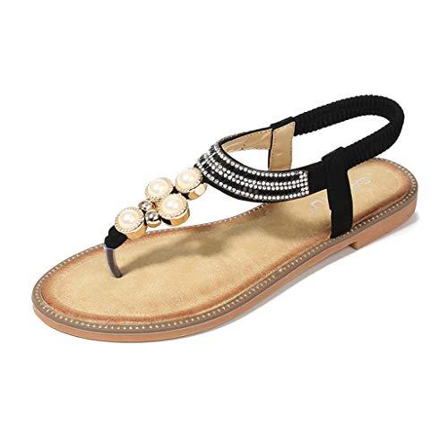 DressLksnf Sandalias Planas Verano Mujer Estilo Bohemia Zapatos de Dedo Sandalias Talla Grande Cinta Elástica Casuales de Playa Chanclas Romanas de Mujer