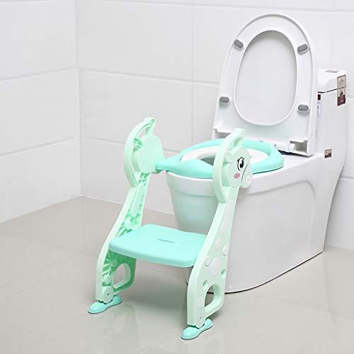 Lovebaby Siège d'enfant pour siège de toilette Potty Trainer avec échelle Step Up, conception détachable pliante universelle pour enfants de 1 à 7 ans/jardin d'enfants (Color : Green)