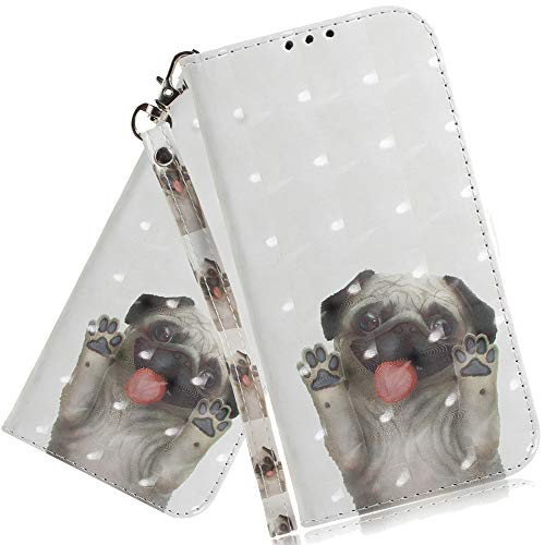 ISADENSER Galaxy A10E Wallet Case Galaxy A20E 3D Case [Wallet Stand] for Girls with Credit Card Slot Holder Flip Folio Leather Case with Closure for Samsung Galaxy A10E / A20E 3D Cute Pug TX