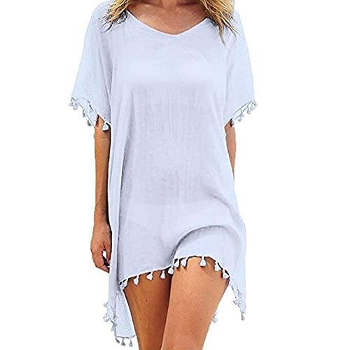 Abkaeh Weißes Strandkleid aus Baumwolle mit langem Oberteil und Langen Ärmeln aus Sarong, Strand und schulterfreiem Pool für Frauen - Style_B1_Size_