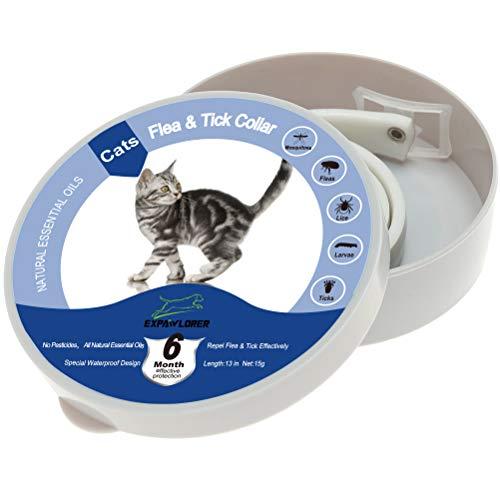 EXPAWLORER Collar de Aceite de essentail de 8 Meses – Cuellos de pulga, Mejor Control de garrapatas y pulgas para Gatos