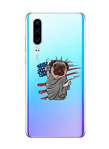 Oihxse Transparent Coque pour Huawei P20 Etui en Silicone Souple Gel TPU Protecteur Bumper Hybrid [Ultra Mince] [Antichoc] [Anti-Scratch] Chien Motif Design Housse (A6)