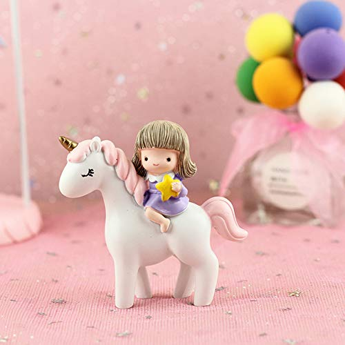 CHOUDOUFU Estatua Escultura Adorno Gril Montando En La Decoración De La Torta My Little Pony Unicornion Cake Topper Happy Birthday Party Decor Girls Gift Shower