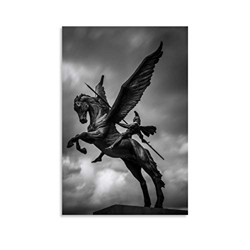 Illustration of Pegasus from Greek Mythology Vintage Art Oil Painting Poster Decorative Painting Canvas Wall Art Living Room Posters Bedroom Painting 20x30inch(50x75cm)