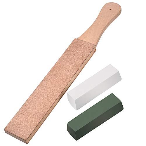 Kit de 3 Piezas de Asentador de Cuero, Suavizador de Cuero de Doble Cara Tira de Afilador con Cera de Pulido PaDEZHI de Pulir Verde (Grande Tamaño)(Grande Tamaño)