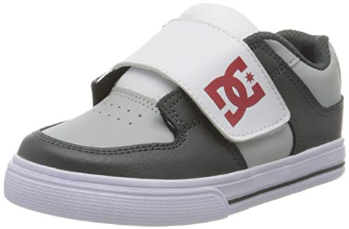 DC Shoes Pure V, Zapatillas para Niños, Grey/Red/White, 20.5 EU