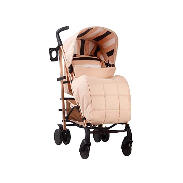 My Babiie AM to PM MB51 Blush Stripes Rose Gold Stroller My Babiie Designed by music and lifestyle star Christina Milian in a beautiful black frame and leopard print as part of her AMPM range named after her 2001 hit song AM to PM Stylish ultra-modern stroller, stunning complimentary colour handles, height adjustable handles, Lightweight & strong aluminium chassis, easy fold technology, lockable front swivel wheels, side carry handle, compact fold Extendable 3 position canopy, padded removable front bar, large storage basket, front and rear wheel suspension, adjustable 2-position leg rest 2