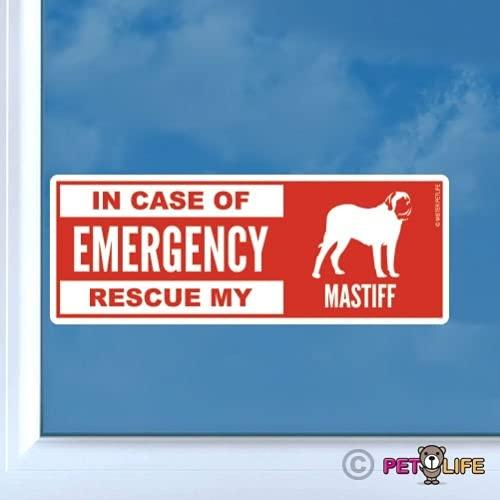 BYTT Want in geval van noodredding, mijn Mastiff Sticker Die Cut Vinyl - Safety English Car Decals (Size : 15cm)