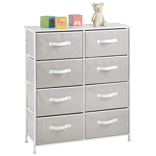 mDesign 8-Drawer Furniture Storage Tower - Sturdy Steel Frame, Easy Pull Fabric Bins - Organizer Unit for Kid's Bedrooms, Playrooms, Nurseries - Light Gray/White