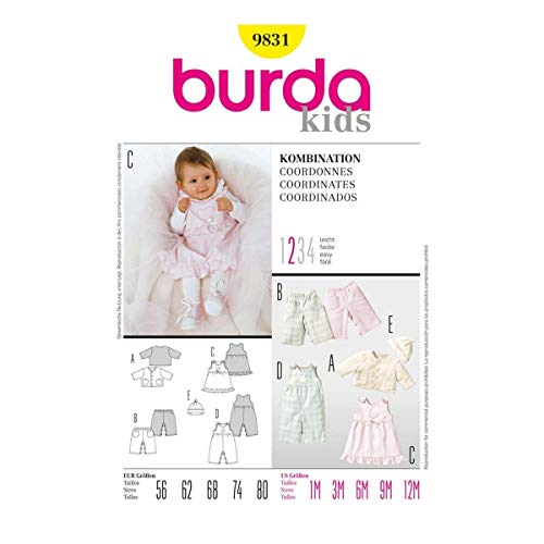 Burda Schnittmuster 9831 Baby-Kombination Gr. 56-80