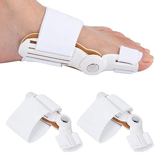 2 piezas Corrector de juanetes para adultos Separadores de dedos de los pies Ortopédicos Equipo de ortesis de Hallux Valgus para uso diurno/nocturno de la mujer(Blanco (2 vendidos))