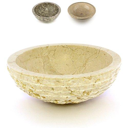 Divero Aufsatz-Waschbecken Sanremo Handwaschbecken Waschschale Marmor Natur-Stein poliert rund beige Creme