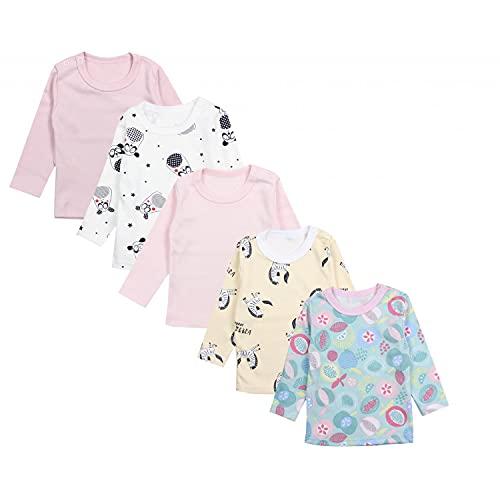 TupTam Camiseta de Bebé para Niña Manga Larga Pack de 5, Mix de Colores 6, 56