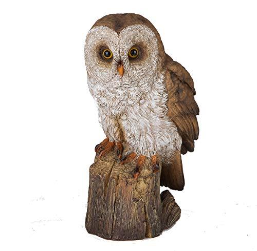 Formano Eule auf Baumstumpf Deko Figur Uhu Kauz naturnah und detailreich gestaltet (23 x 14 x 10 cm)
