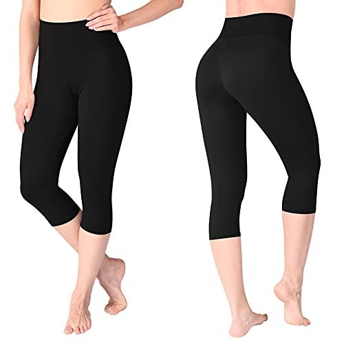 SINOPHANT Leggins Cortos Mujer Cintura Alta - 3/4 Pantalones Leggings Mallas Cortas Piratas Mujer, Yoga, Deporte, elásticos, Suaves y cómodos