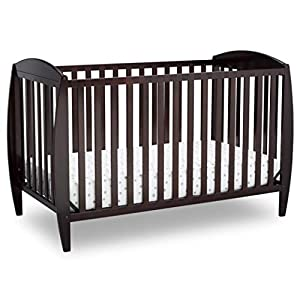Delta Children Twinkle 4-in-1 Convertible Baby Crib, Easy to Assemble, Sustainable New Zealand Wood, JPMA Certified, Dark Chocolate