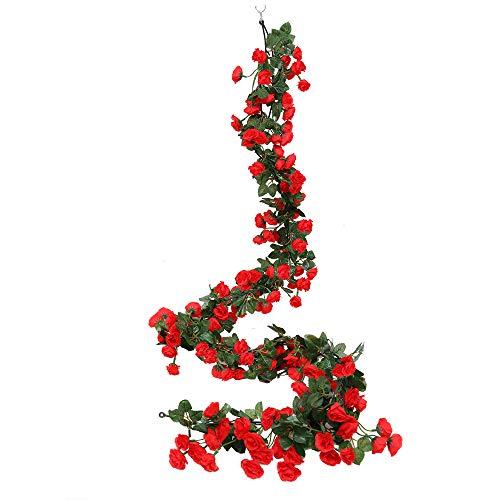 Cotemdery 2 unidades de 69 cabezas artificiales de rosas para decoración de flores de flores para colgar en el jardín, manualidades, plantas de hiedra de rosas para arreglos de arco de boda (rojo)