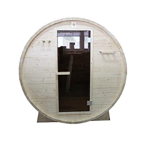 ALEKO SB6PINE White Pine Indoor Outdoor Wet Dry Barrel Sauna and Steam Room 6 kW ETL Certified Heater 6 Person 83 x 72 x 75 Inches