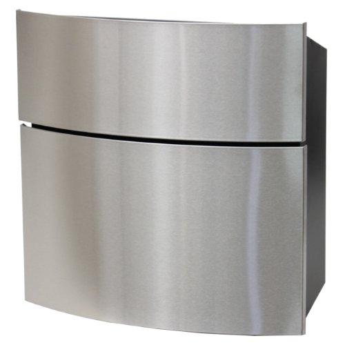 SafePost 124 Briefkasten schwarz mit Edelstahlfront 39,5 x 40 cm