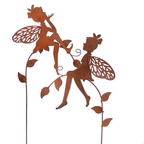 Metall Stecker. Elfen auf Zweig. Rost. 2 Stück Gartenstecker. 57 cm. 64328 (2 Stück)