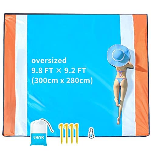 LHNK Picknickdecke, 300x280cm Extra groß, Stranddecke Sandfrei, Strandmatte 4 Befestigung Ecken Stranddecke Wasserdicht, Campingdecke Ultraleicht kompakt für den Strand, Campen, Wandern und Ausflüge