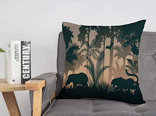 LREFON 18' 2pcs Square Throw Pillowslip Tree Evening Sunrise Wild Sunlight Vintage South Jungle Spring Animals Wildlife Nature Soft Skin-Friendly Pillowcase for Couch Sofa