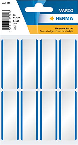 HERMA 1903 Namensetiketten, ablösbar (54 x 19 mm, 2 Blatt, Acetatseide) selbstklebend, rückstandsfrei abziehbare Namensaufkleber zur Handbeschriftung, 16 Klebeetiketten, weiß / blau