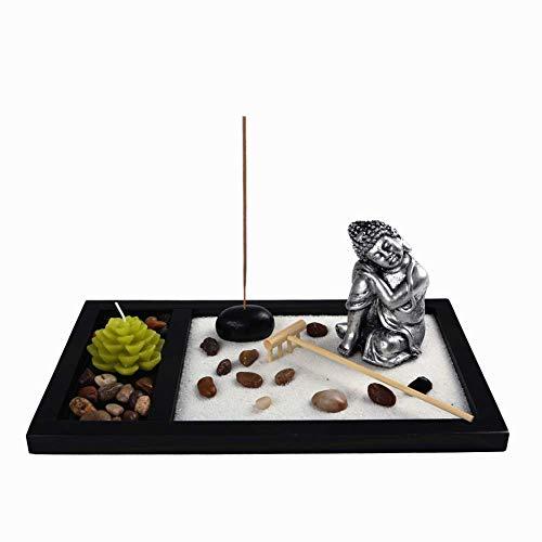 OM HOME Jardin Zen Figura Buda Durmiendo con una Vela en Bandeja,con portaincienso, Roca y Arena decoración