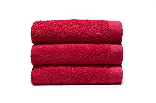 Lasa Pure Juego 3 Toallas, algodón 100%, Rojo, Ducha (70 x 140 cm), Lavabo y tocador