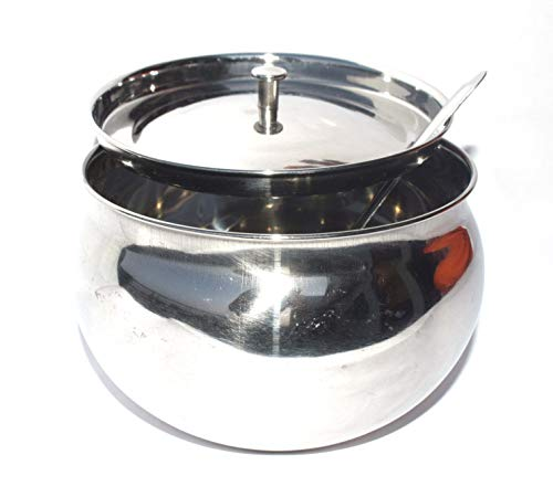 CB|Ghee Pot Steel Ghee Dani|Oil Pot for Kitchen Storage |Steel Jar/Container With Spoon|Puja Ghee pot Pack of 1 Pot (375 ml) Silver