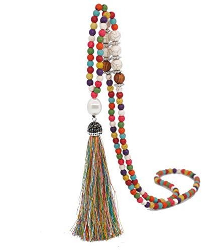 Boho Beads Necklaces Chakra Statement Long Chain Tassel Necklace Jewerly Handmade Fashion Jewelry